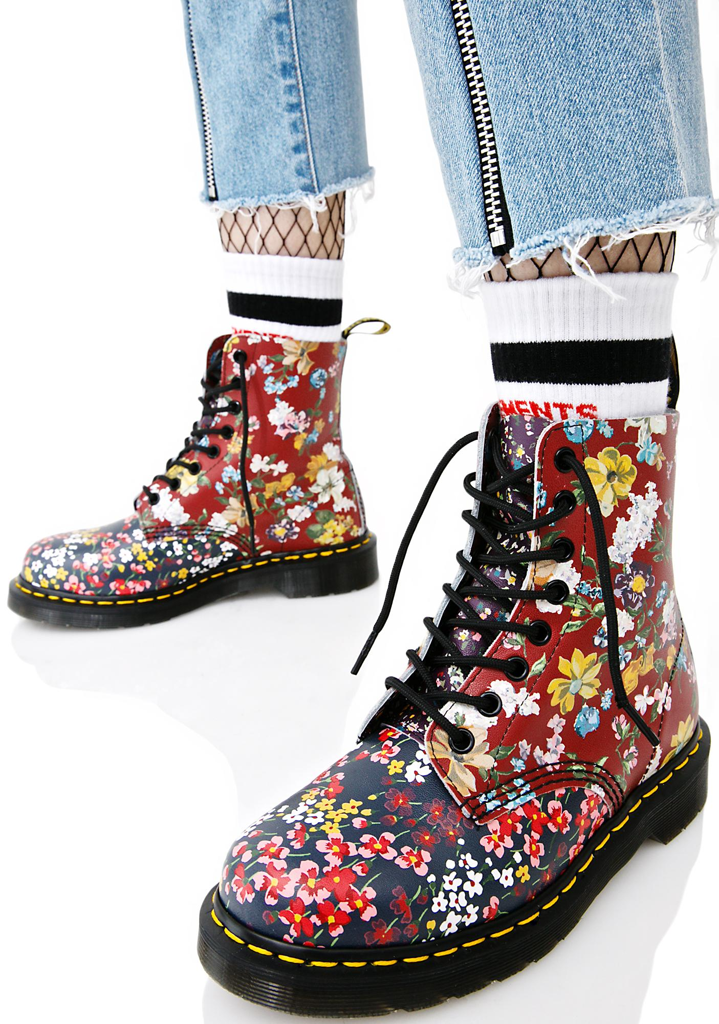 dr martens floral pascal 8 eye boots dolls kill. Black Bedroom Furniture Sets. Home Design Ideas