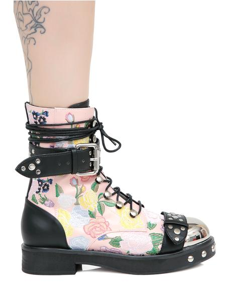 Rosie Floral Combat Boots