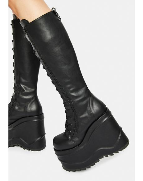 Evil Intentions Wedge Knee High Boots