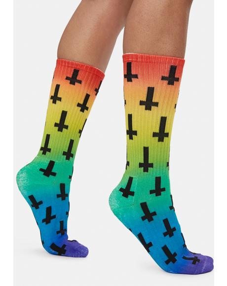Tie Dye Crosses Print Crew Socks