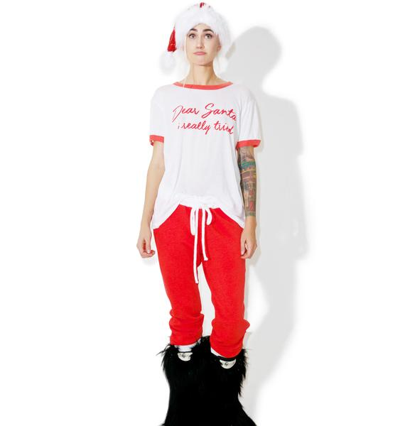 Wildfox Couture Dear Santa Vintage Ringer Tee