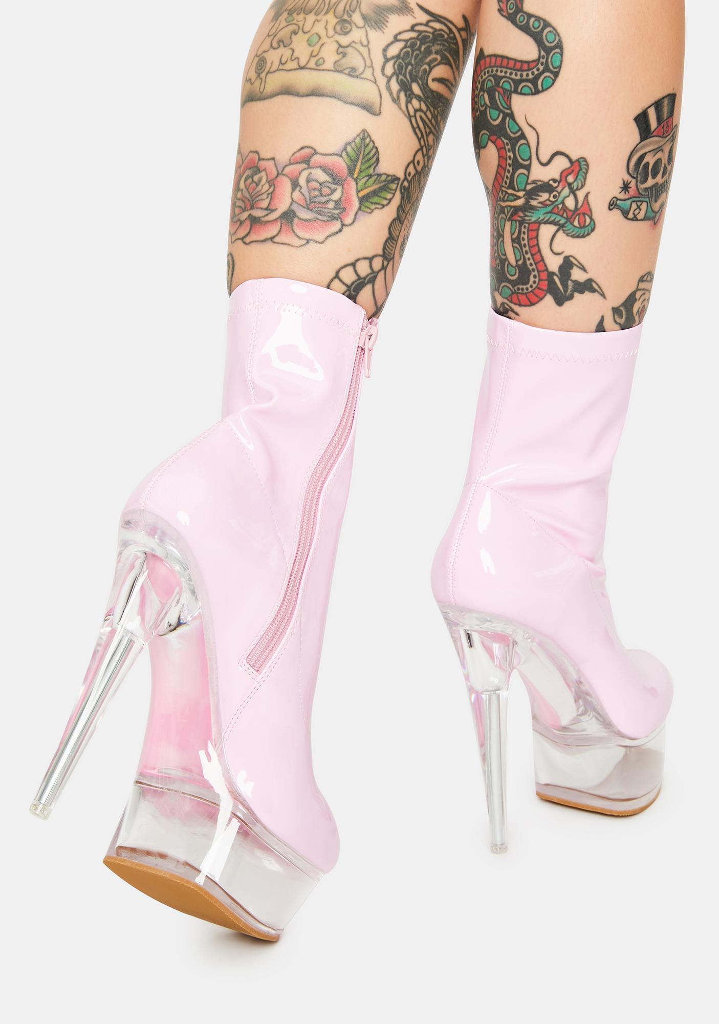 AZALEA WANG Pink Patent Kyky Platform Heels