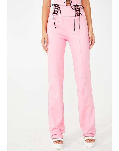 Pink Carolina Lace-Up Pants