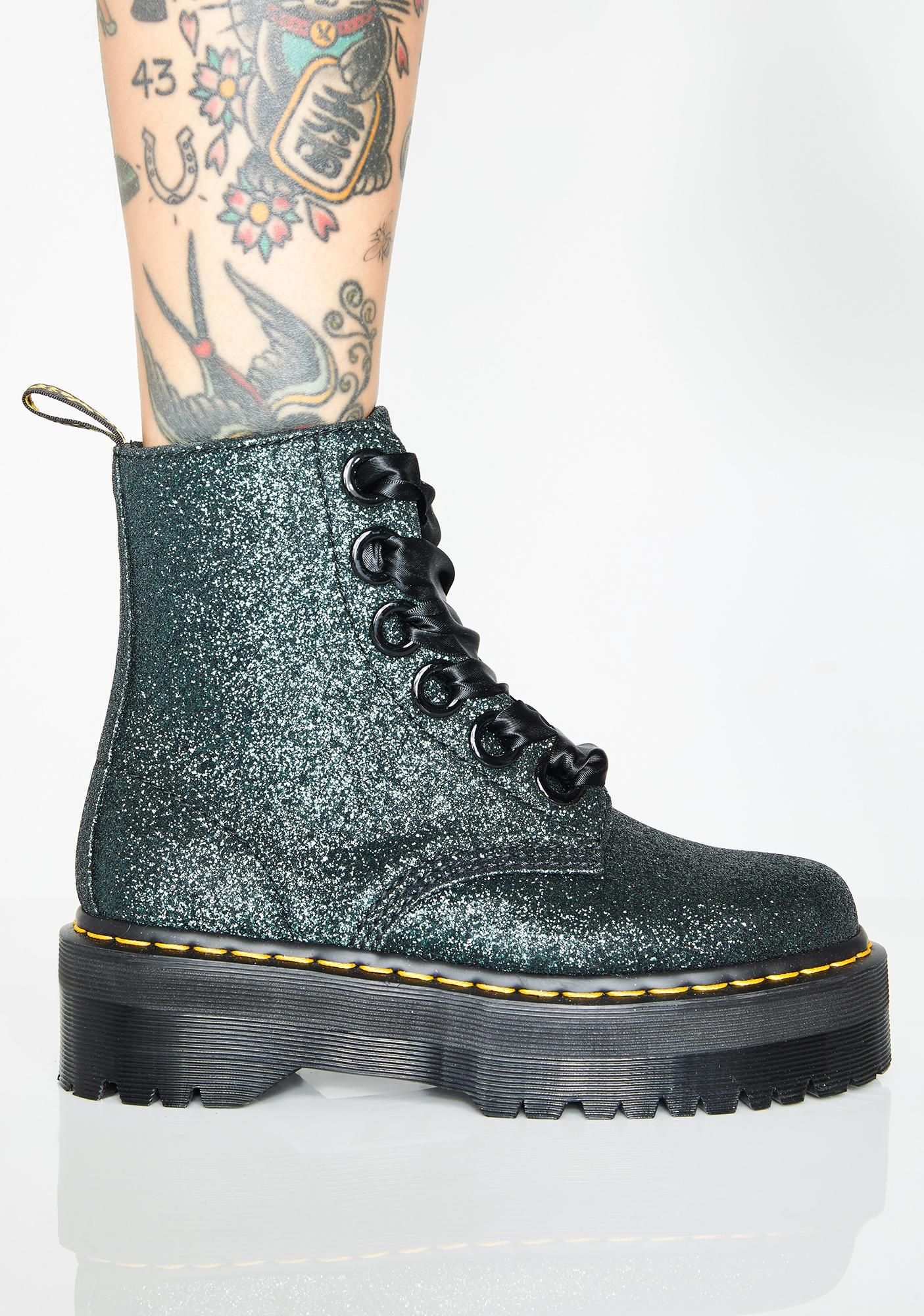 af02dab6a Dr. Martens Emerald Molly Glitter Boots | Dolls Kill