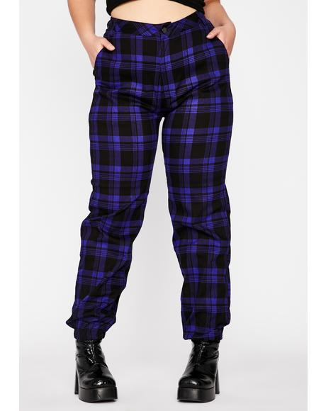 Plum Bad Misconduct Plaid Joggers