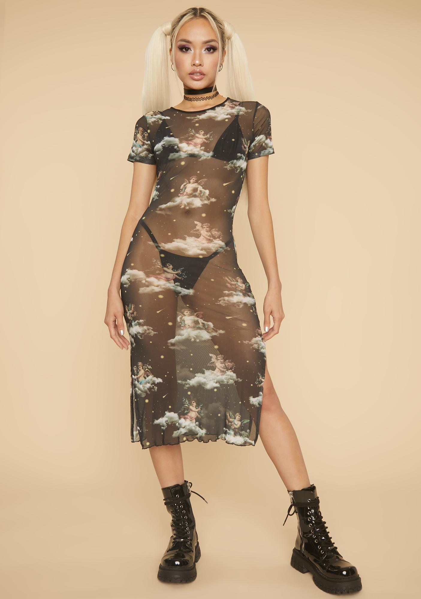 HOROSCOPEZ Far From An Angel Mesh Midi Dress