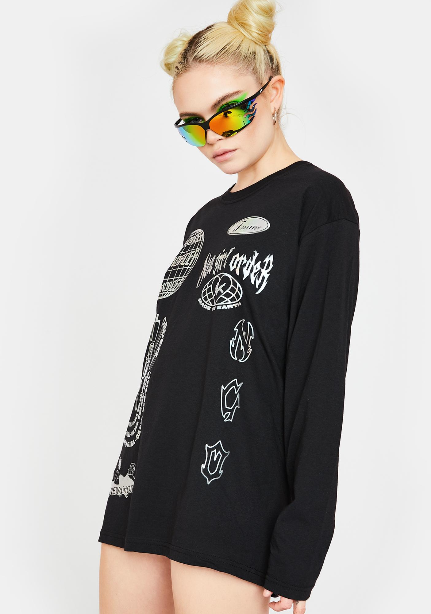 NEW GIRL ORDER Holographic Logo Long Sleeve Tee