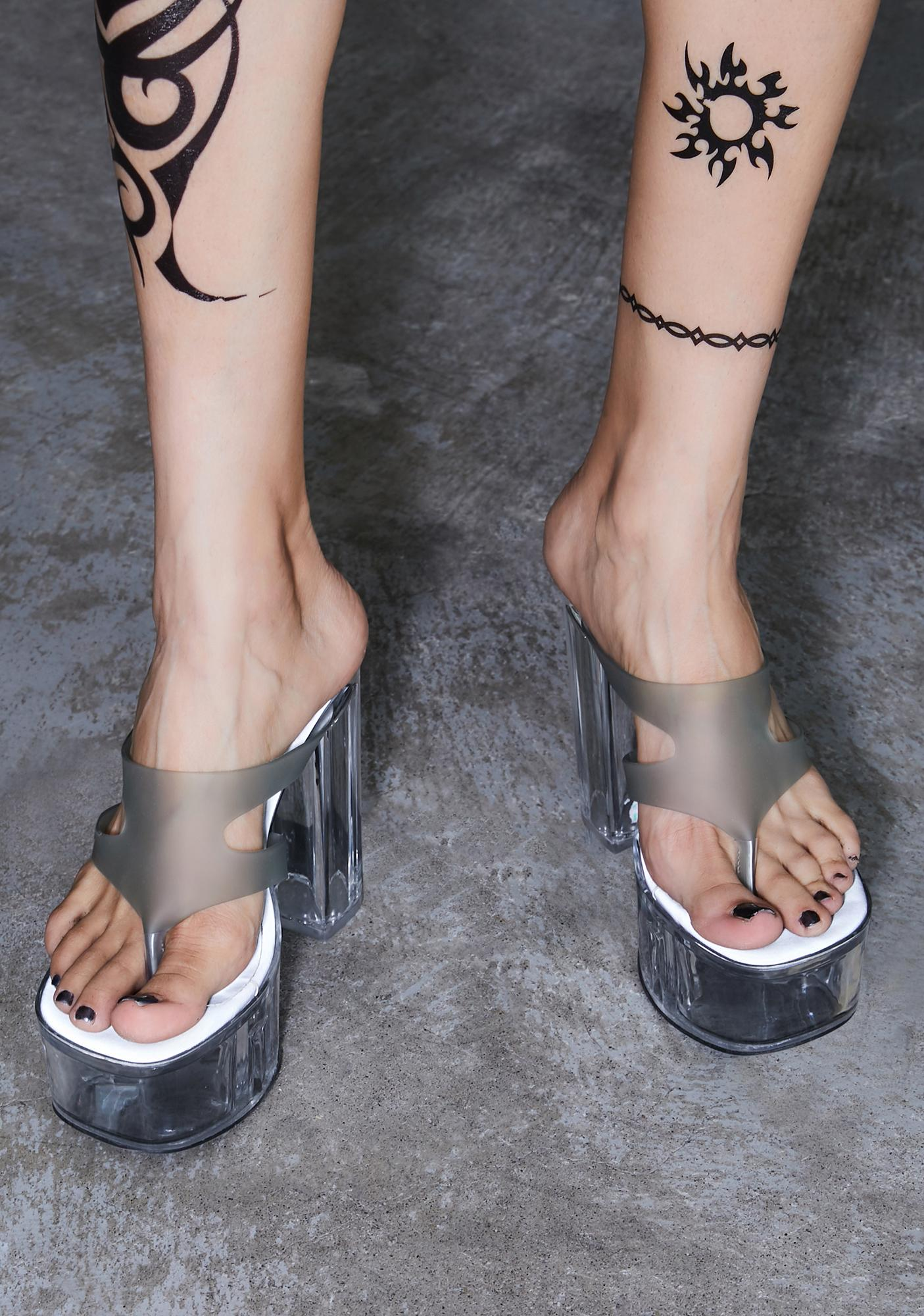 DARKER WAVS Kickdrum Clear Platform Thong Sandals