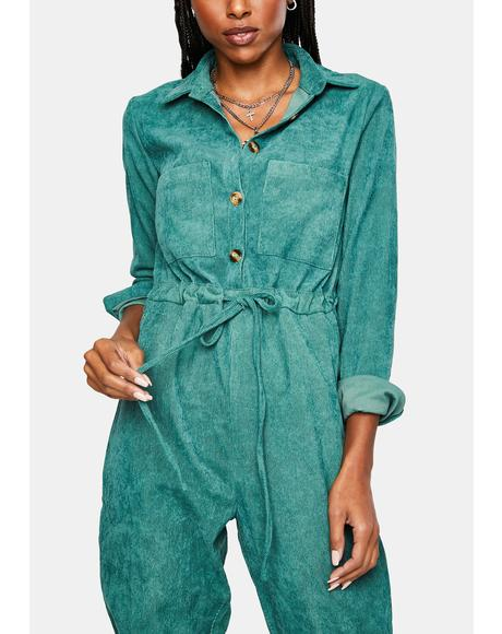 Button Up Corduroy Jumpsuit