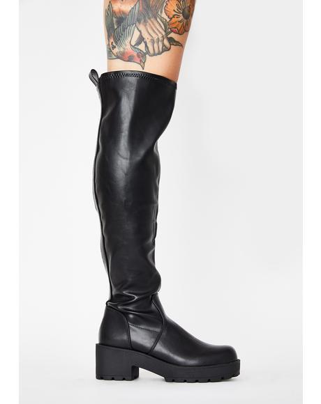 PU Passport Knee High Boots