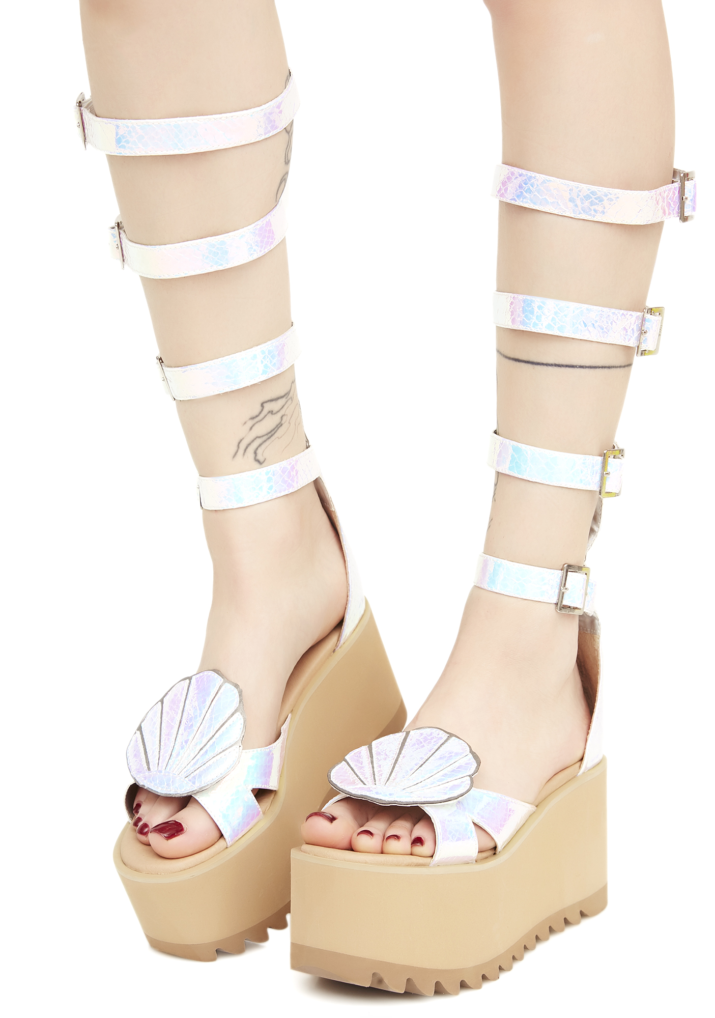 Mermaid Iridescent Gladiator Platform Sandals