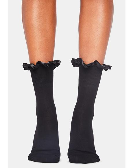 Noir All My Loving Ruffle Socks