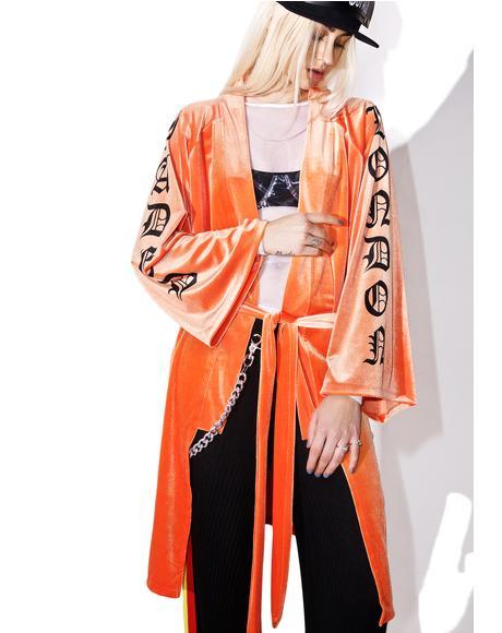 Orange Velvet Kimono