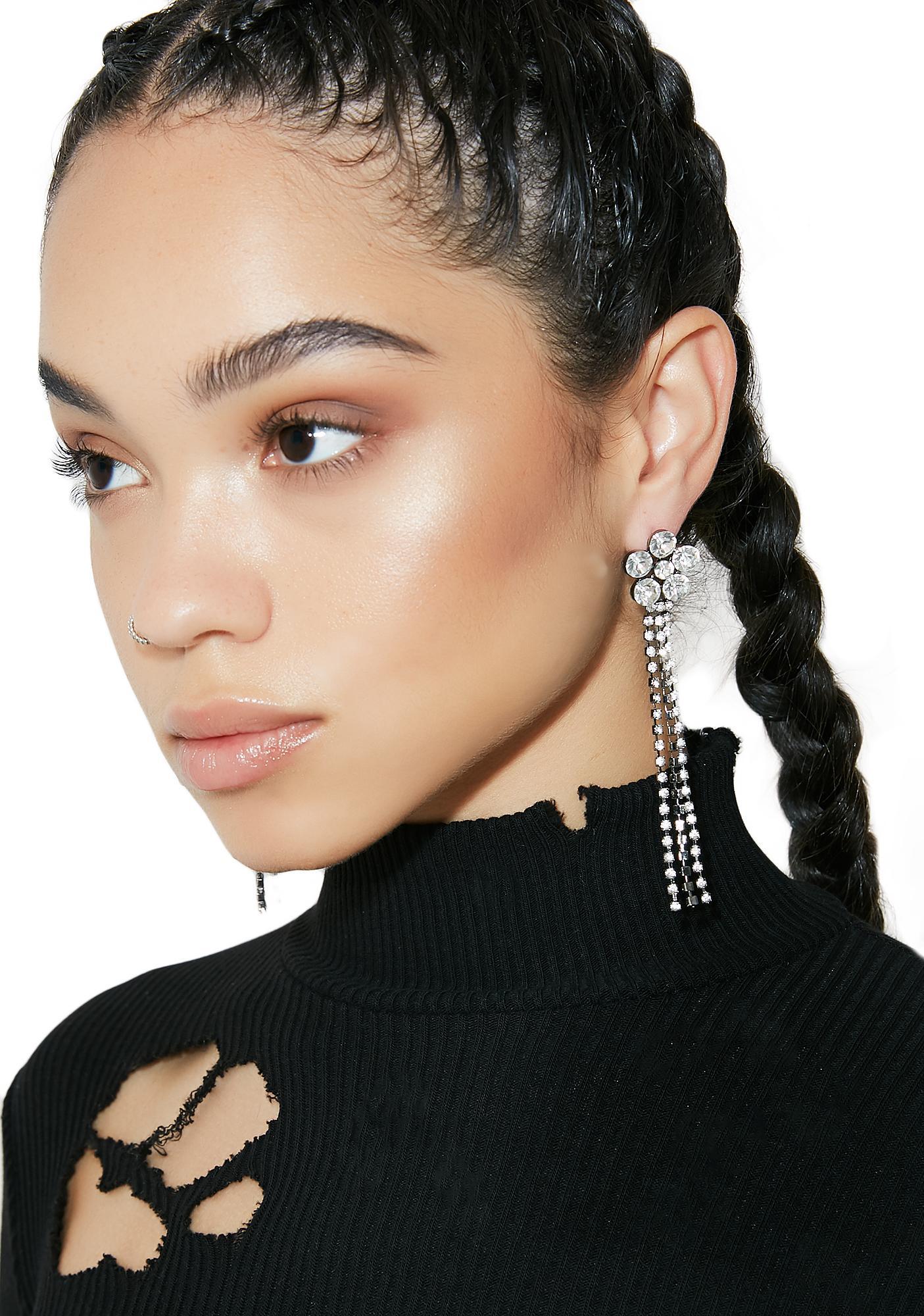 Showin' Off Rhinestone Flower Fringe Earrings
