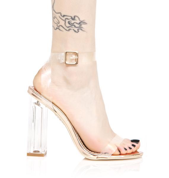 Gold Venus Lucite Heels
