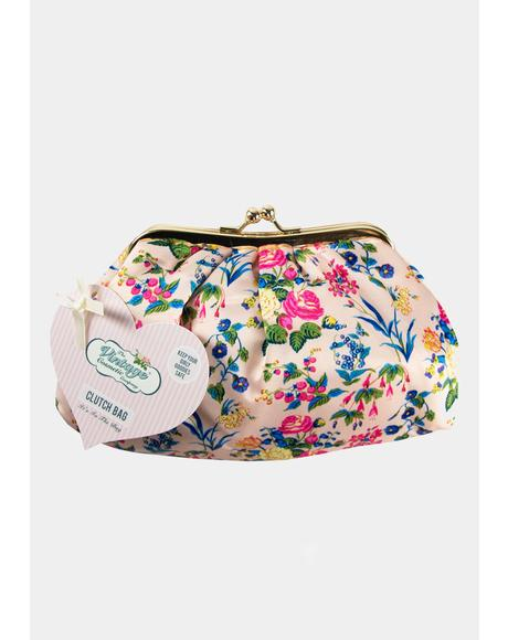 Pink Floral Satin Cosmetic Clutch Bag