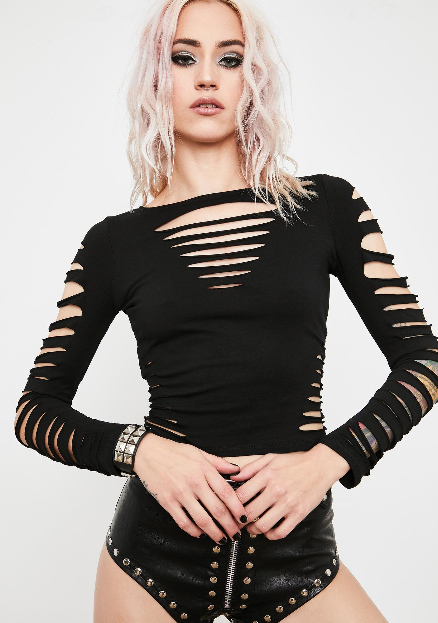 Current Mood Torn To Shreds Long Sleeve Top