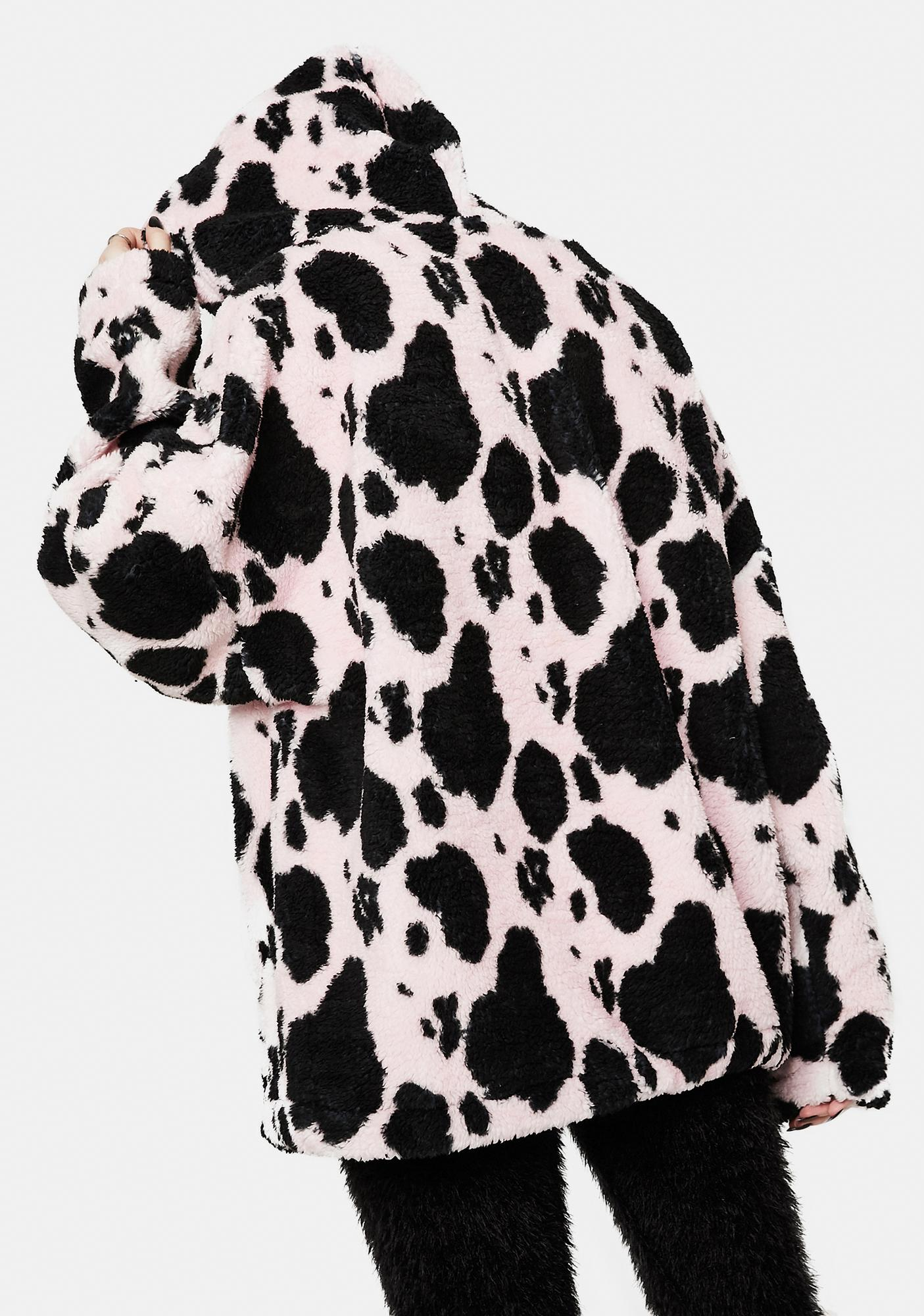NEW GIRL ORDER Cow Print Fleece Hoodie