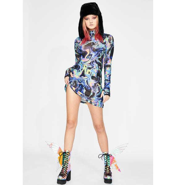 Club Exx Acid Dimension Mesh Dress