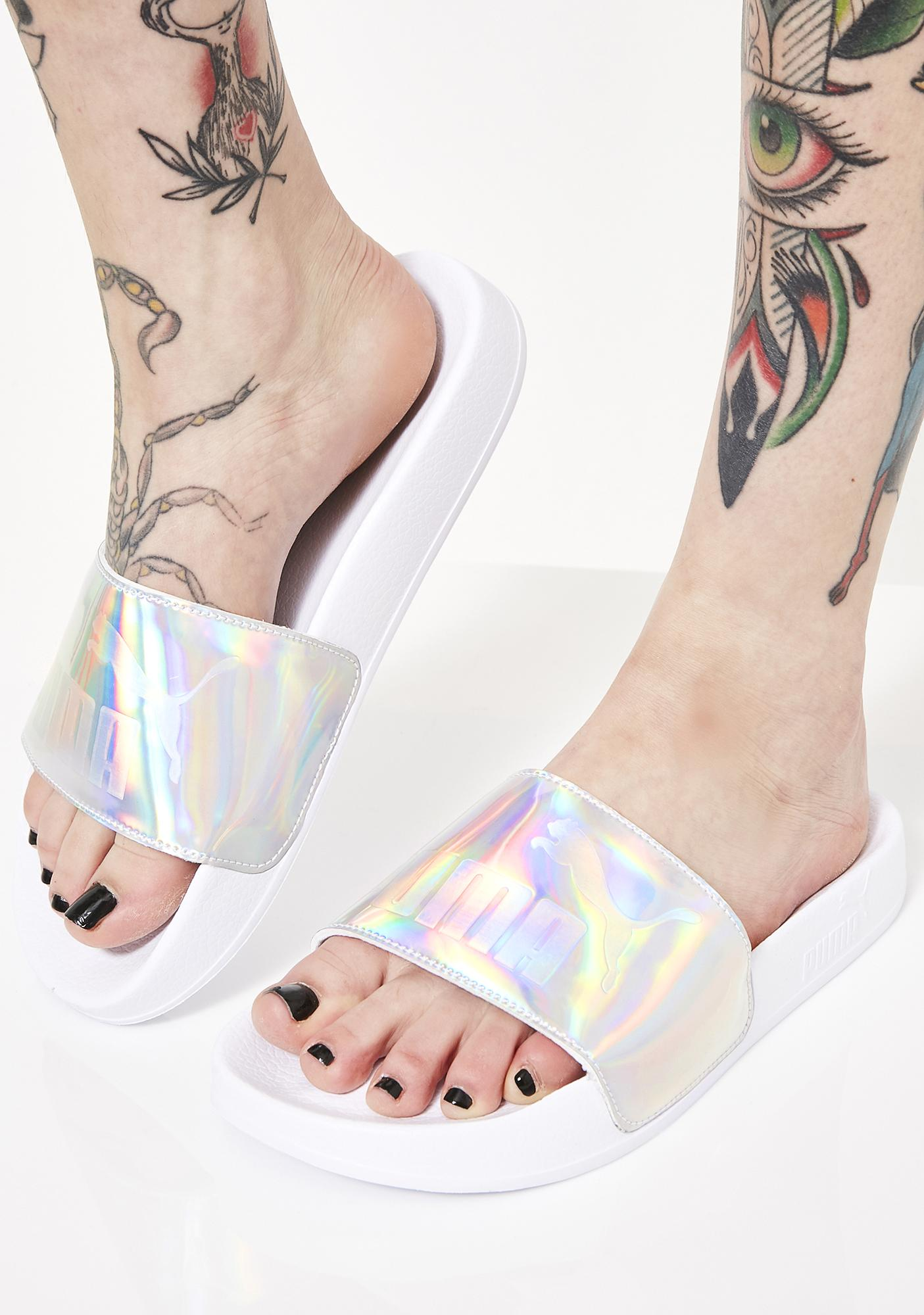 Iri Opalescent Leadcat Slides by Puma