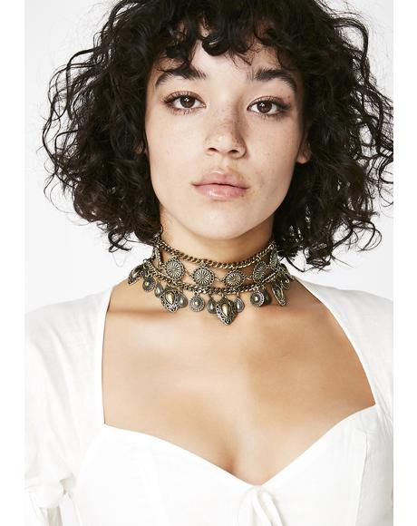 Golden Sister Of The Moon Boho Choker