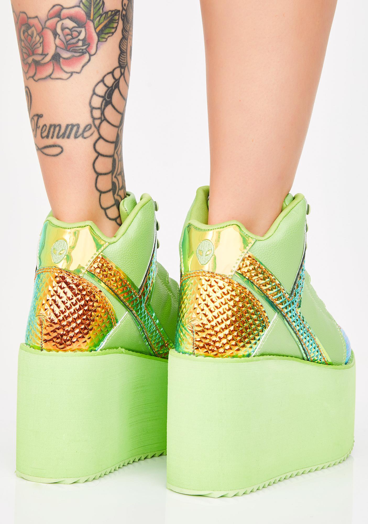 03c84030d0bc ... Y.R.U. Green Monster Qozmo Platform Sneakers ...