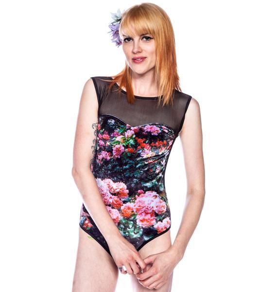 Wildfox Couture Oh Romeo Rose Garden Bodysuit