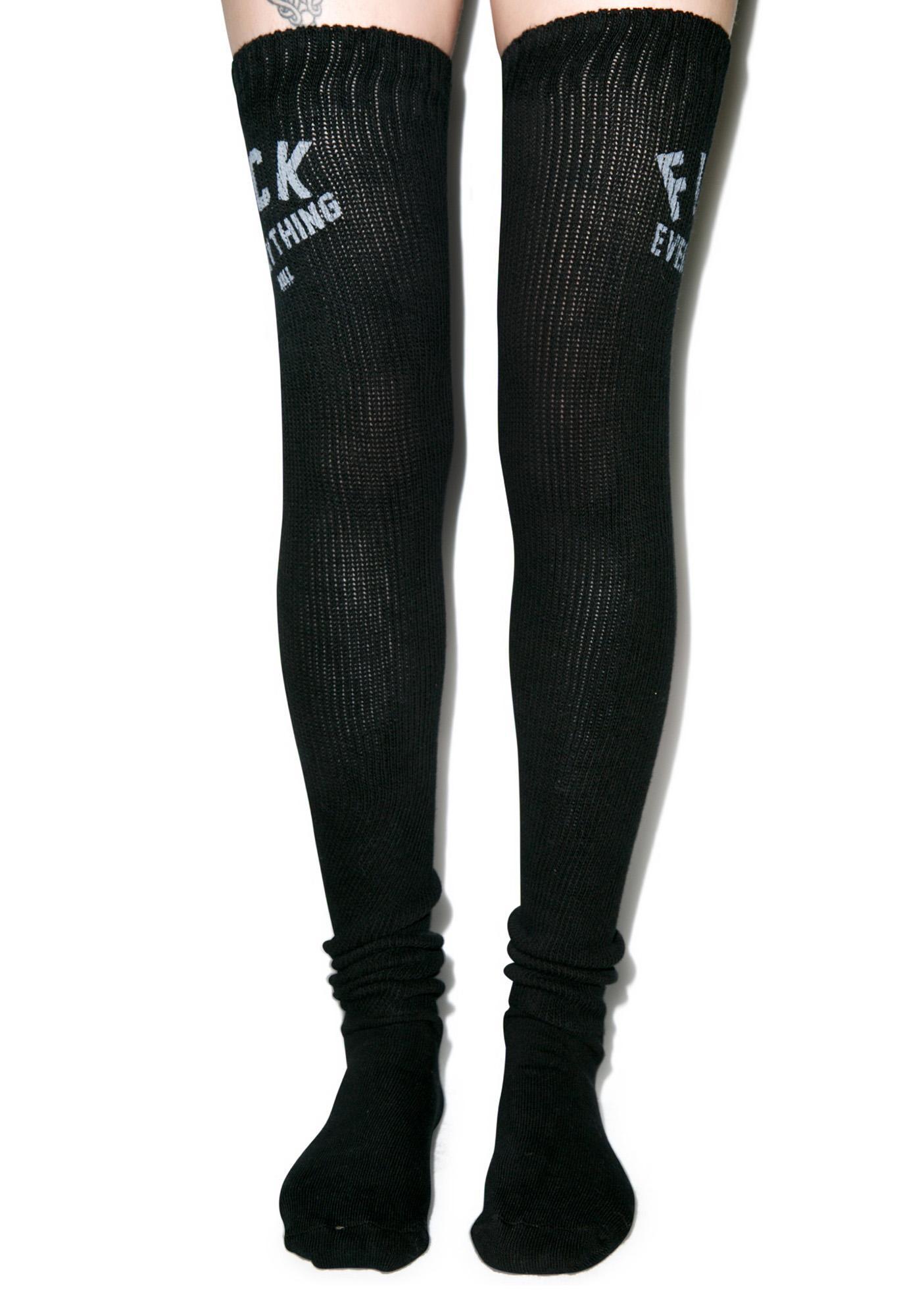 Kill Brand Fuck Everything Thigh High Socks