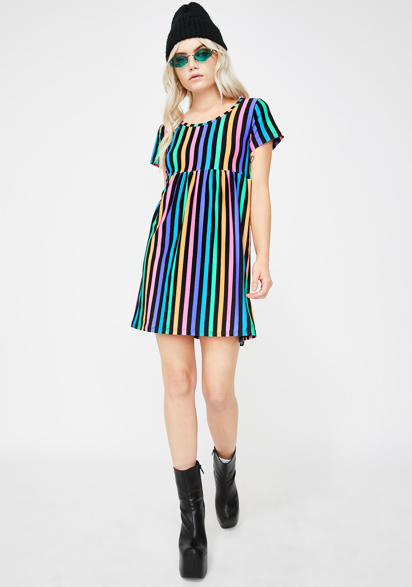 Too Fast Rainbow Stripe 90's Baby Doll Dress