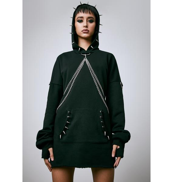 Current Mood Chained N' Dangerous Oversized Spiked Hoodie