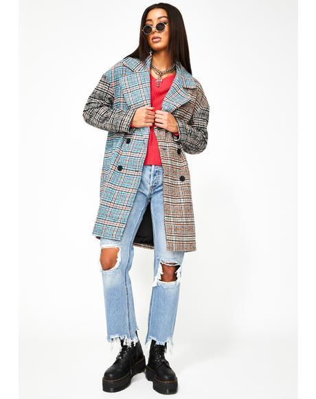 Two-Tone Plaid Coat