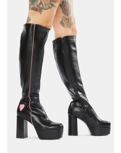 Barbie Girl Platform Knee High Boots