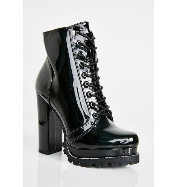 Midnight Sassy Stepper Lace Up Boots