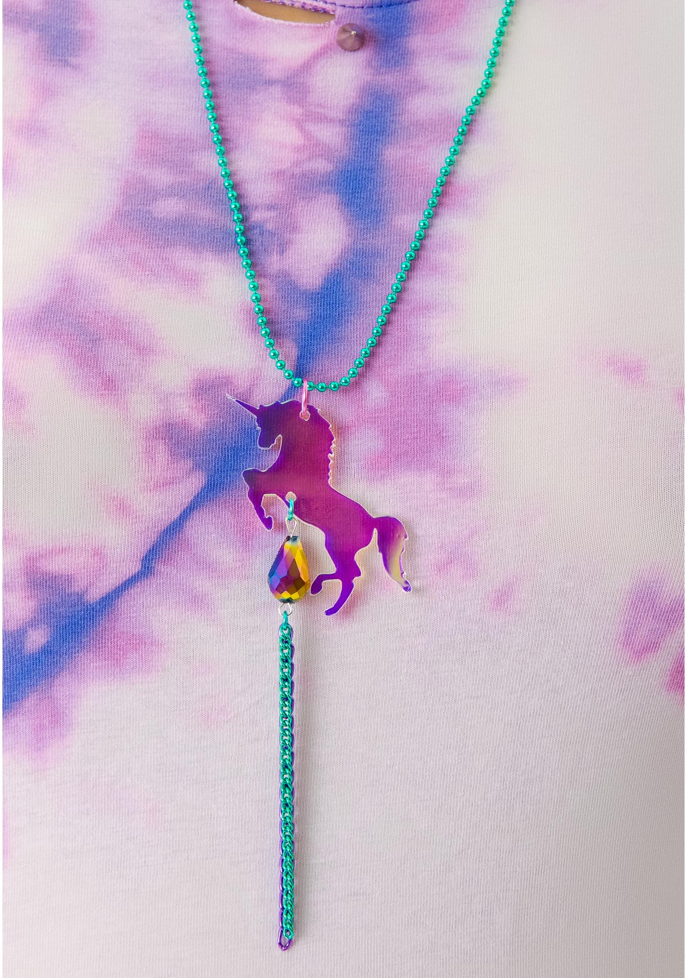 Suzywan Deluxe Unicorn Fantasma Iridescent Necklace