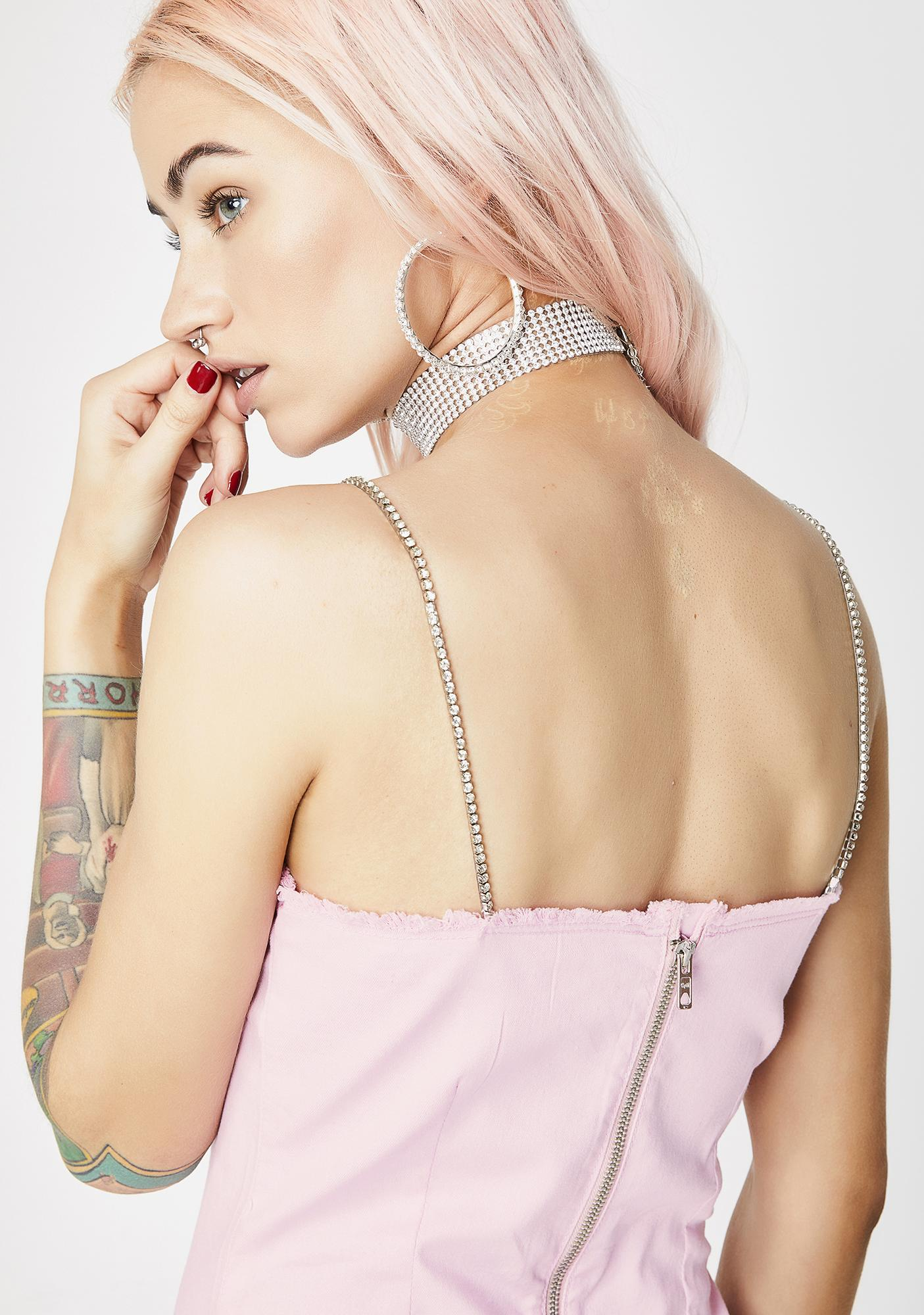 Jaded London Diamante Famous Pink Denim Dress