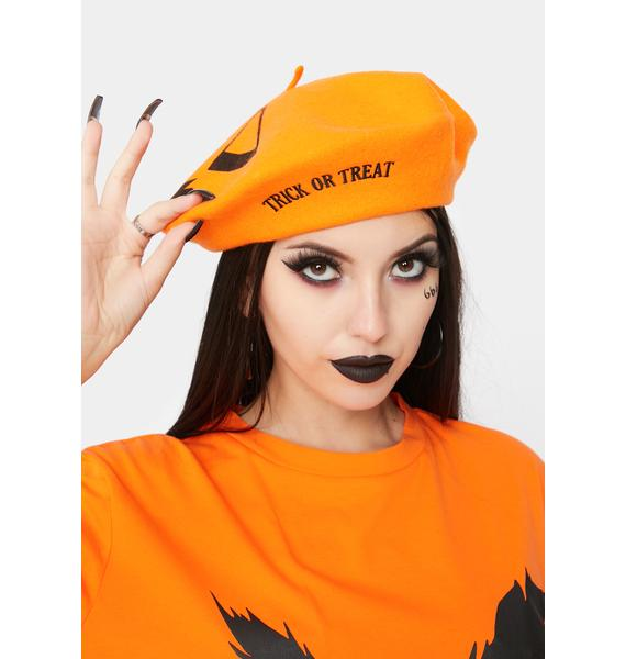 Kreepsville 666 Trick Or Treat Pumpkin Orange Beret