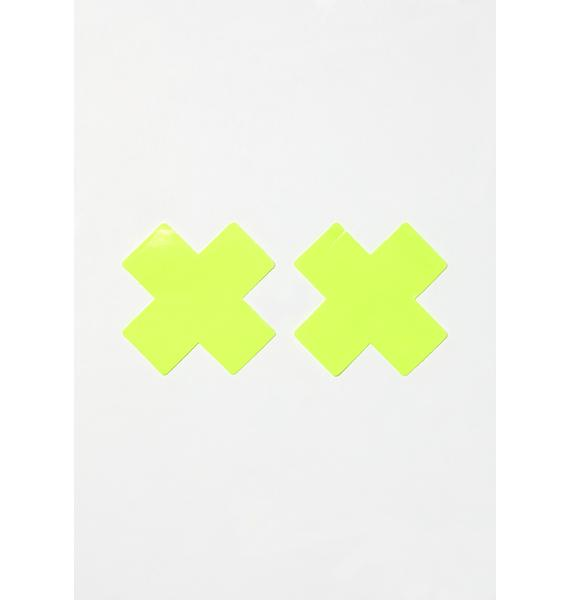 Neva Nude Lemon Fruitella Wet Vinyl Cross Pasties