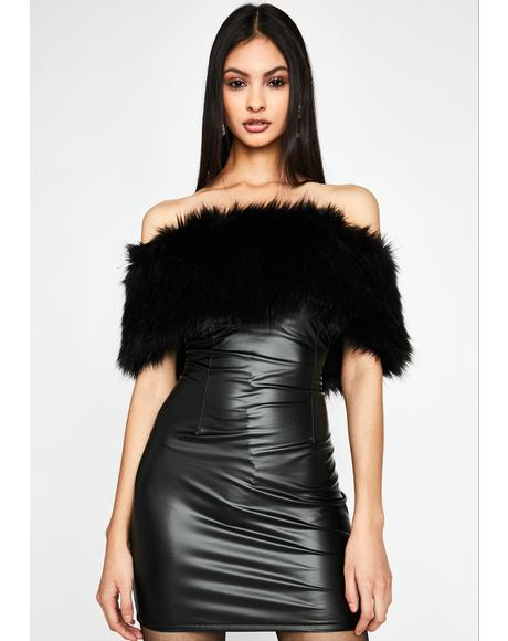 Pay My Bills Faux Fur Dress