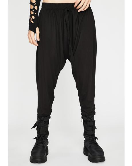 Dark Urban Kick Drop Crotch Joggers