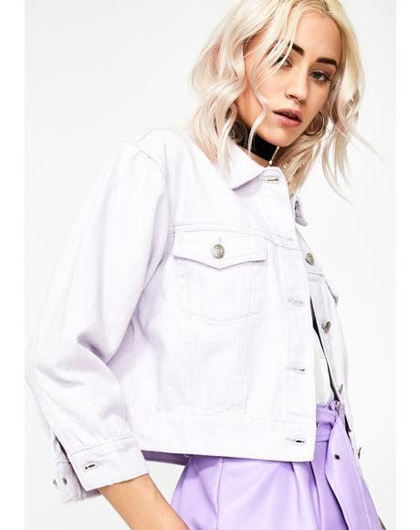 Lilac Cropped Denim Jacket