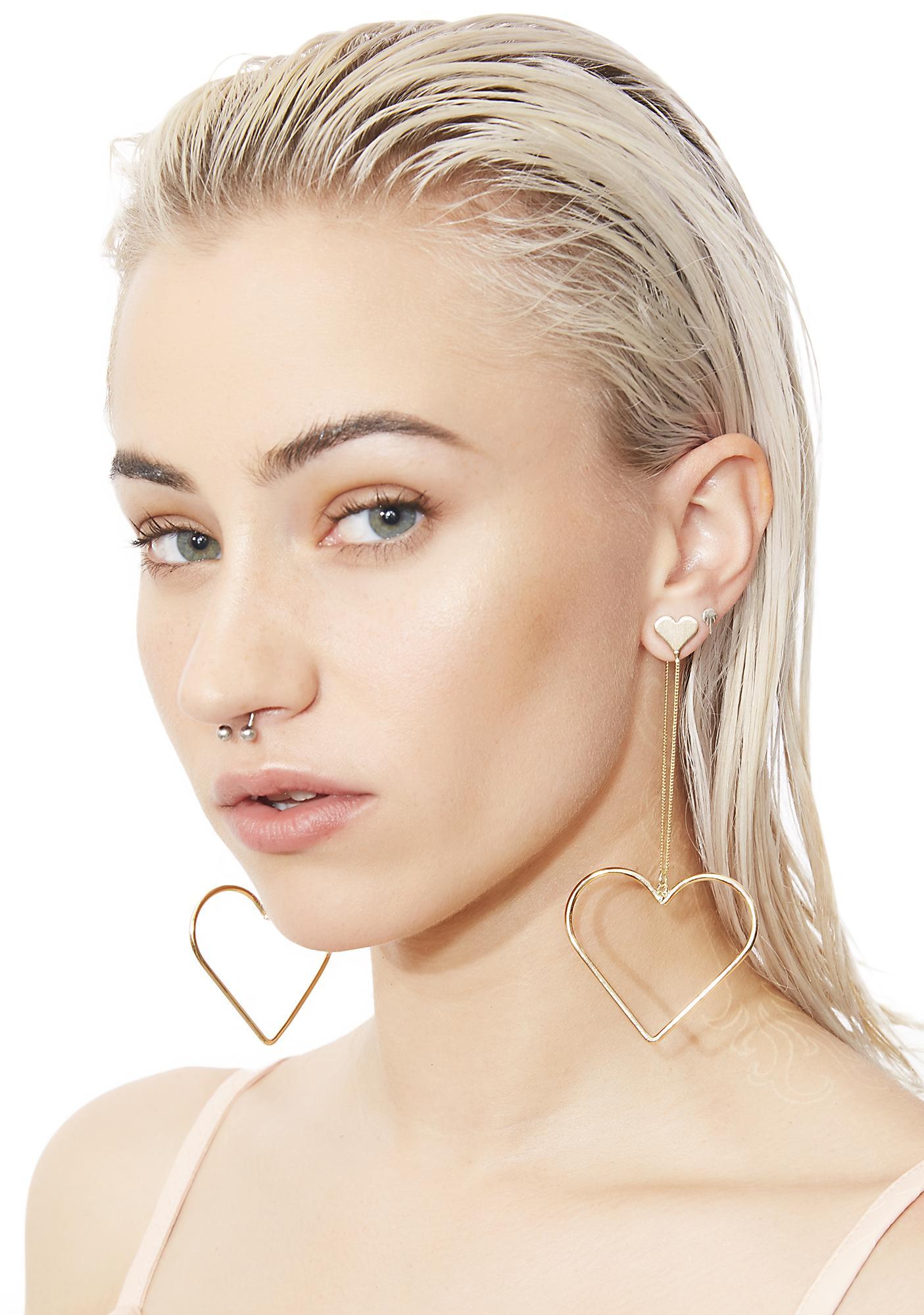 Full Of Luv Dangly Heart Earrings