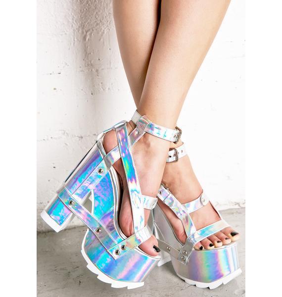 Y.R.U. Holographic Nightcall Platform Heels