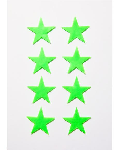 Mini Neon Green Glow-In-The-Dark Star Body Minis