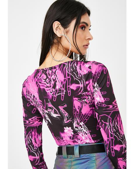 Pink Skull Print Long Sleeve Bodysuit