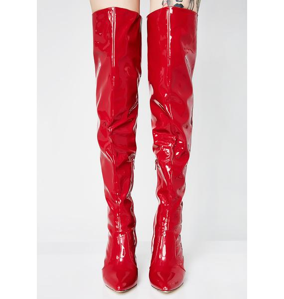 Fire Flame Catching Feelings Thigh High Boots