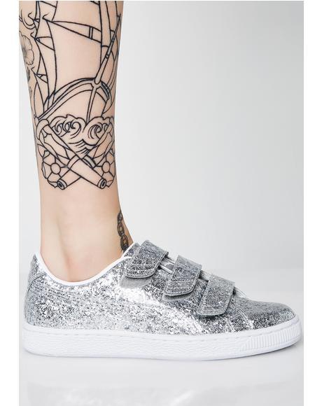Basket Strap Glitter Sneakers