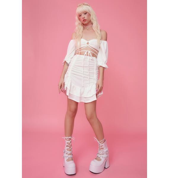 Sugar Thrillz Wood Nymph Ruched Ruffle Skirt