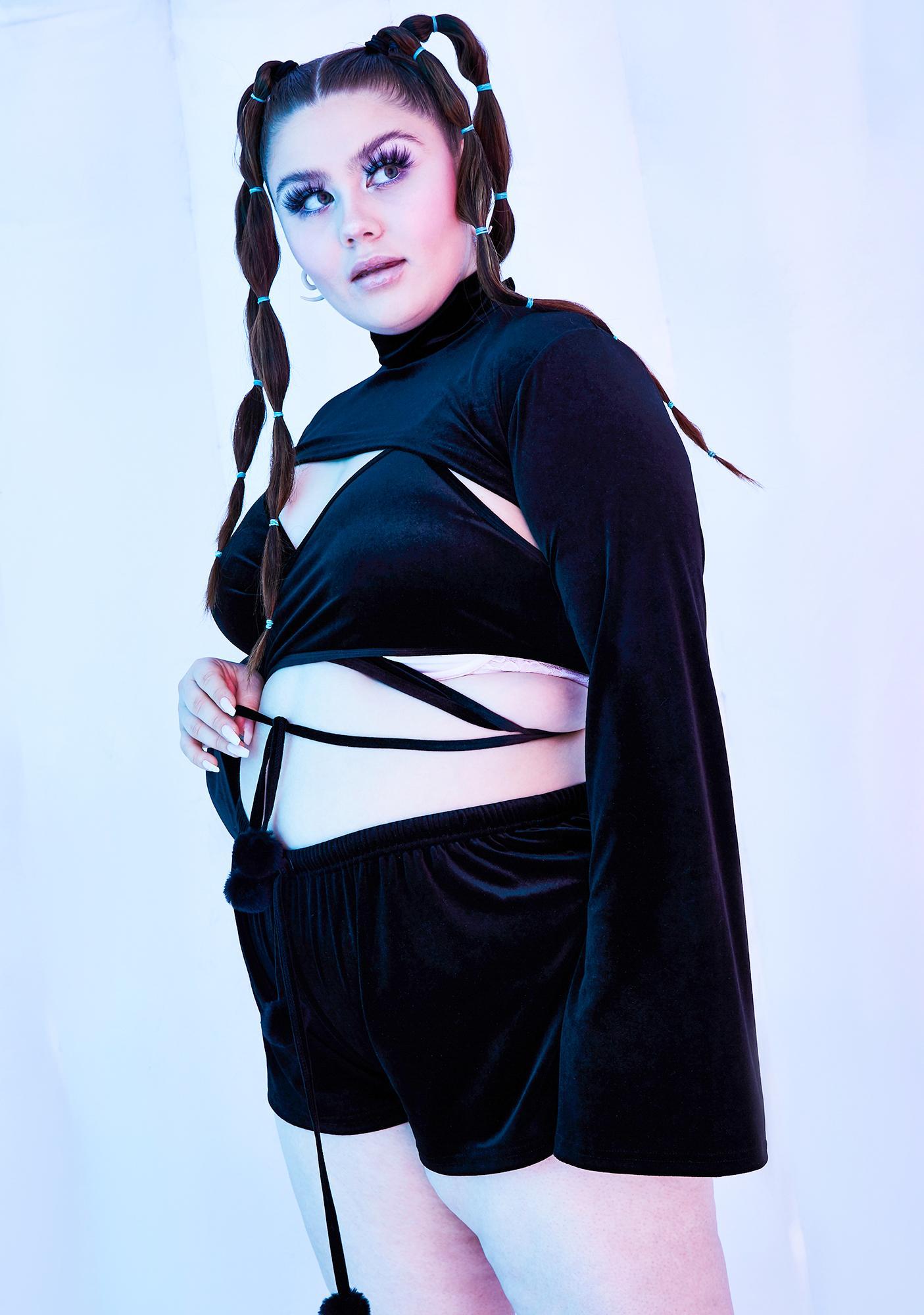 Club Exx Dark Miss Rave Bunny Velvet Shrug