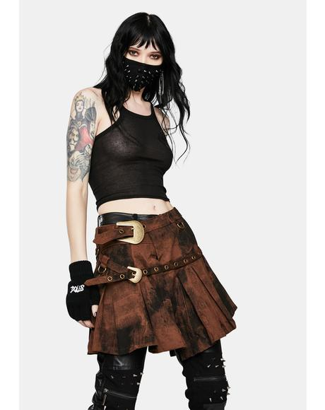 Punk Asymmetric Pleated Brown Wash Skirt