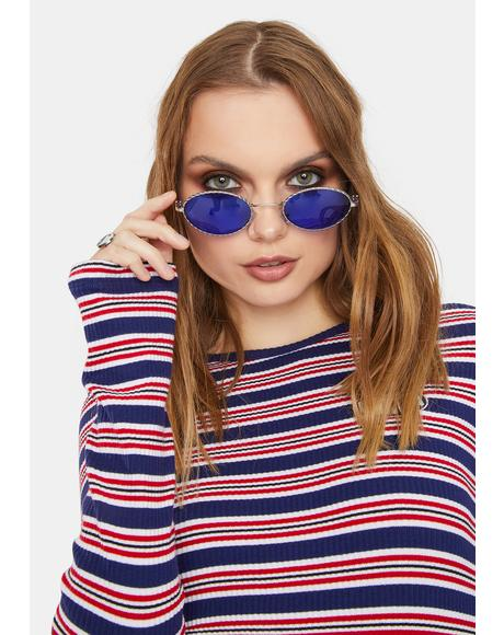 Navy You're Priceless Oval Sunglasses
